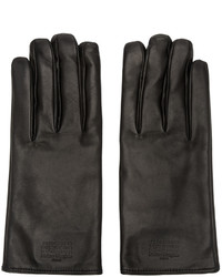 Maison Margiela Black Leather Logo Gloves