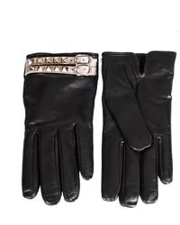 Valentino Black Leather Rockstud Gloves