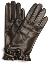 All Gloves Black Leather Ruffle Gloves
