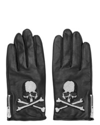 Mastermind World Black Leather Skull Gloves