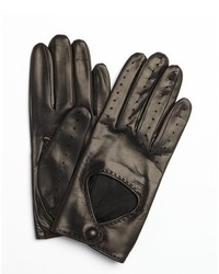 Portolano Black Leather Snap Perforated Driving Gloves