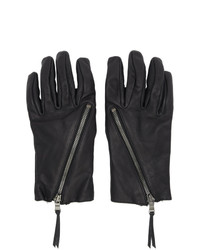 The Viridi-anne Black Leather Zip Up Gloves