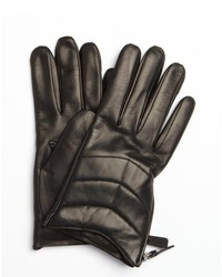 Portolano Black Leather Zipper Detail Nappa Gloves