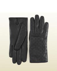 Gucci Black Microssima Leather Gloves