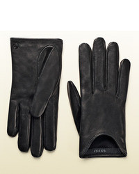 Gucci Black Nappa Leather Cutaway Gloves