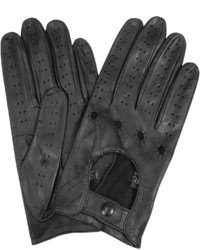 Forzieri Black Perforated Italian Leather Driving Gloves