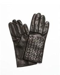 Bottega Veneta Black Intrecciato Nappa Leather Gloves