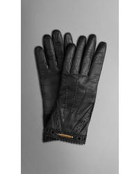 Burberry Brogue Detail Nappa Leather Gloves