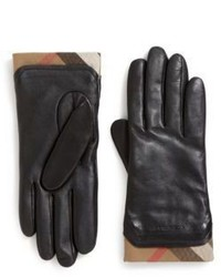 Burberry Cashmere Check Lined Leather Gloves
