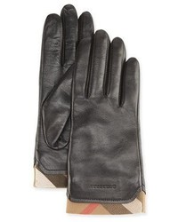 Burberry Tech Leather Gloves With Check Trim Black