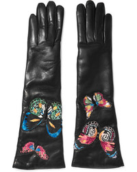 Valentino Butterfly Appliqud Leather Gloves Black