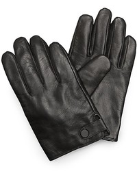 Calvin Klein Button Snap Tab Leather Gloves