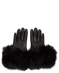 Calvin Klein Collection Black Leather Flared Gloves