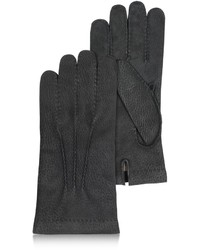 Forzieri Cashmere Lined Black Italian Calf Leather Gloves