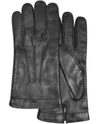 Forzieri Cashmere Lined Black Italian Leather Gloves