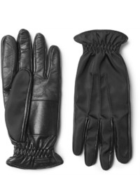 Prada Cashmere Lined Leather And Twill Gloves