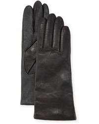 Neiman Marcus Cashmere Lined Leather Tech Gloves Black