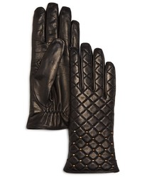 Bloomingdale's Cashmere Lined Quilted Leather Gloves 100%