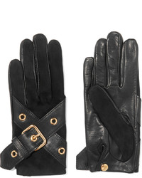 Causse Gantier Ophelie Leather Buckle Trimmed Suede Gloves
