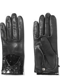Causse Gantier Patent Leather Trimmed Fringed Leather Gloves