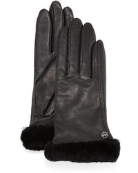 UGG Classic Fur Trim Leather Smart Gloves Black
