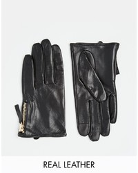 Asos Collection Leather Gloves With Zip And Touch Screen