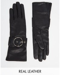 Asos Collection Long Leather Gloves With Buckle And Touch Screen
