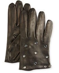Portolano Crystal Embellished Leather Gloves Black