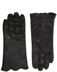 Totes Cut Out Scallop Edge Leather Gloves Black