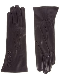 Dents Classic Button Leather Gloves Black