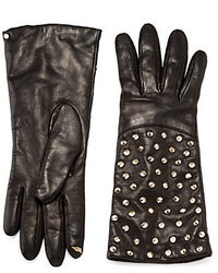 Diane von Furstenberg Round Pyramid Studded Tech Leather Gloves