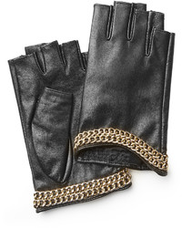 Karl Lagerfeld Embellished Fingerless Leather Gloves
