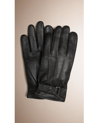 Burberry Embossed Check Detail Leather Gloves