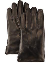 Portolano Faux Fur Lined Leather Gloves Black