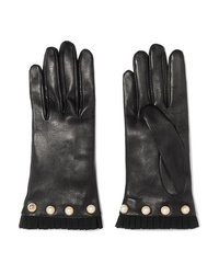 Gucci Faux Pearl Embellished Med Leather Gloves