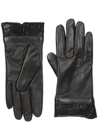 Isotoner Fleece Lined Leather Glove With Lace Hem