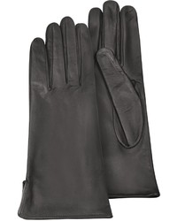Forzieri Black Calf Leather Gloves W Silk Lining