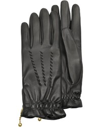 Forzieri Embroidered Black Calf Leather Gloves