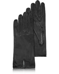 Forzieri Stitched Silk Lined Black Italian Leather Gloves