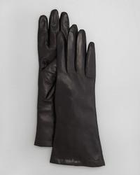 Portolano Four Button Leather Gloves Black