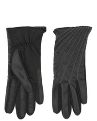 Fownes Black Leather Look Driving Gloves With Metallic Stitching