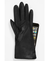 Fownes brothers basic tech cashmere lined leather gloves black 65 medium 391684