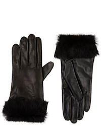 Barneys New York Fur Cuff Tech Smart Leather Gloves
