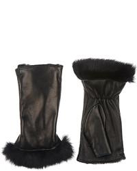 Barneys New York Fur Lined Nappa Leather Fingerless Gloves
