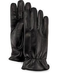 Grandoe Gathered Wrist Leather Gloves Black