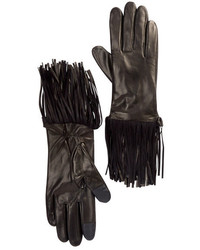 Rebecca Minkoff Genuine Goat Leather Double Fringe Gloves