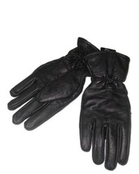 George Sleek Black Leather Gloves With Fleece Lining Thinsulate