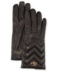 Gucci Gg Marmont Chevron Leather Gloves Black