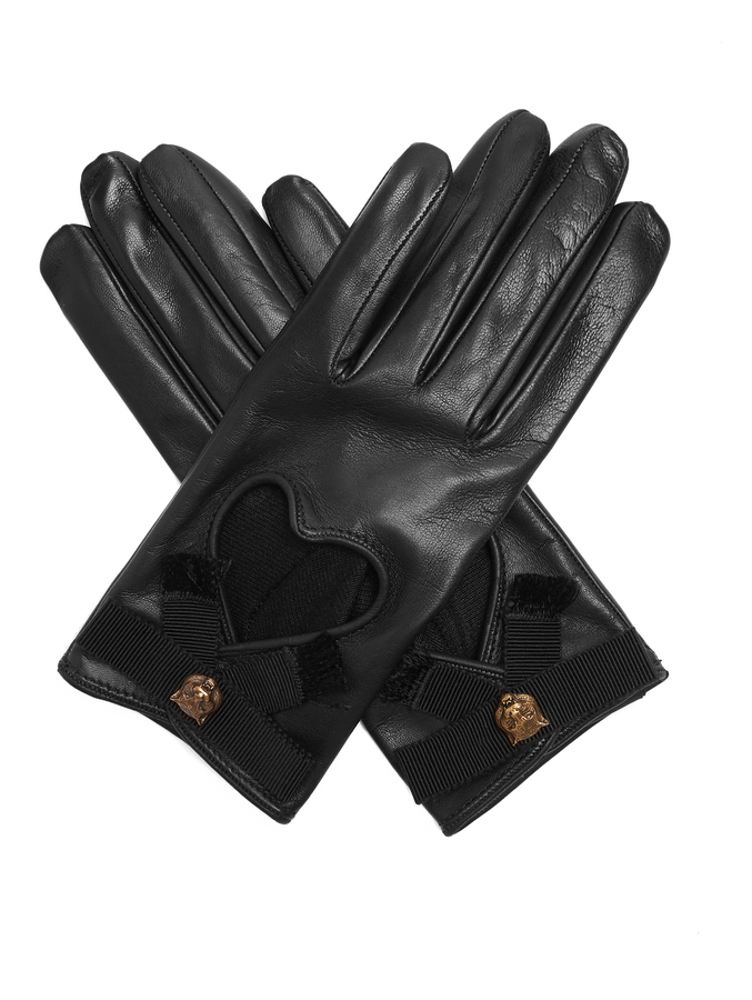 Gucci Grosgrain Bow Leather Gloves