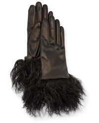 Guanti Giglio Fiorentino Leather Gloves W Fur Cuffs Black